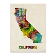 "Trademark Fine Art 'California Map' 14"" x 19"" Canvas Art"