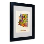 Trademark Fine Art 'Arizona Map' 11 x 14 Black Frame Art