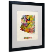 Trademark Fine Art 'Arizona Map' 16 x 20 Black Frame Art