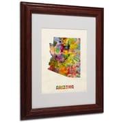 "Trademark Fine Art 'Arizona Map' 11"" x 14"" Wood Frame Art"