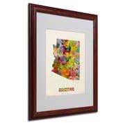 Trademark Fine Art 'Arizona Map' 16 x 20 Wood Frame Art