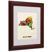 "Trademark Fine Art 'New York Map' 11"" x 14"" Wood Frame Art"