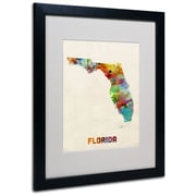 Trademark Fine Art 'Florida Map' 16 x 20 Black Frame Art