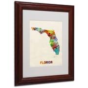 """Trademark Fine Art 'Florida Map' 11"""" x 14"""" Wood Frame Art"""