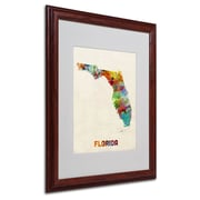 Trademark Fine Art 'Florida Map' 16 x 20 Wood Frame Art
