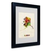 "Trademark Fine Art 'Alaska Map' 11"" x 14"" Black Frame Art"