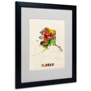"Trademark Fine Art 'Alaska Map' 16"" x 20"" Black Frame Art"