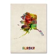 """Trademark Fine Art 'Alaska Map' 14"""" x 19"""" Canvas Art"""