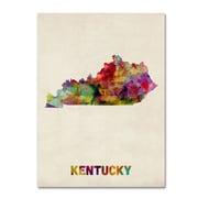 """Trademark Fine Art 'Kentucky Map' 18"""" x 24"""" Canvas Art"""