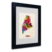 "Trademark Fine Art 'Maine Map' 11"" x 14"" Black Frame Art"