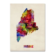 "Trademark Fine Art 'Maine Map' 18"" x 24"" Canvas Art"