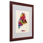 """Trademark Fine Art 'Maine Map' 16"""" x 20"""" Wood Frame Art"""