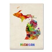 "Trademark Fine Art 'Michigan Map' 14"" x 19"" Canvas Art"