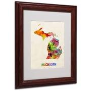 "Trademark Fine Art 'Michigan Map' 11"" x 14"" Wood Frame Art"