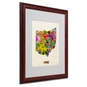 "Trademark Fine Art 'Ohio Map' 16"" x 20"" Wood Frame Art"