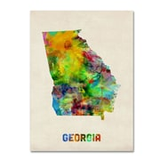 "Trademark Fine Art 'Georgia Map' 18"" x 24"" Canvas Art"