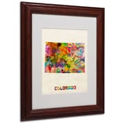 "Trademark Fine Art 'Colorado Map' 11"" x 14"" Wood Frame Art"