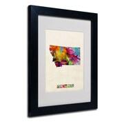 Trademark Fine Art 'Montana Map' 11 x 14 Black Frame Art