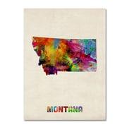 """Trademark Fine Art 'Montana Map' 14"""" x 19"""" Canvas Art"""