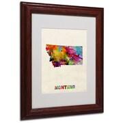 Trademark Fine Art 'Montana Map' 11 x 14 Wood Frame Art