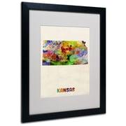 "Trademark Fine Art 'Kansas Map' 16"" x 20"" Black Frame Art"