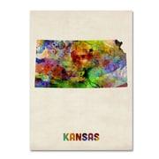"""Trademark Fine Art 'Kansas Map' 14"""" x 19"""" Canvas Art"""