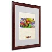 """Trademark Fine Art 'Kansas Map' 16"""" x 20"""" Wood Frame Art"""
