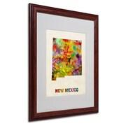 "Trademark Fine Art 'New Mexico Map' 16"" x 20"" Wood Frame Art"