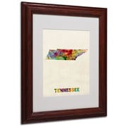"Trademark Fine Art 'Tennessee Map' 11"" x 14"" Wood Frame Art"
