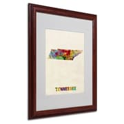 "Trademark Fine Art 'Tennessee Map' 16"" x 20"" Wood Frame Art"