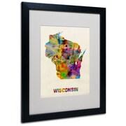 "Trademark Fine Art 'Wisconsin Map' 16"" x 20"" Black Frame Art"