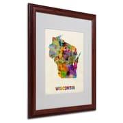 """Trademark Fine Art 'Wisconsin Map' 16"""" x 20"""" Wood Frame Art"""