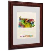 "Trademark Fine Art 'Pennsylvania Map' 11"" x 14"" Wood Frame Art"