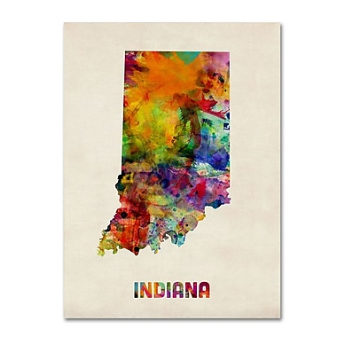 Trademark Fine Art 'Indiana Map' 18