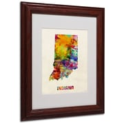 "Trademark Fine Art 'Indiana Map' 11"" x 14"" Wood Frame Art"