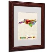 "Trademark Fine Art 'North Carolina Map' 11"" x 14"" Wood Frame Art"