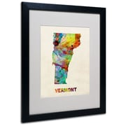 "Trademark Fine Art 'Vermont Map' 16"" x 20"" Black Frame Art"