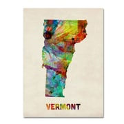 "Trademark Fine Art 'Vermont Map' 14"" x 19"" Canvas Art"