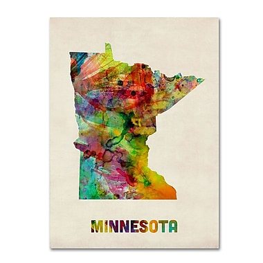 Trademark Fine Art 'Minnesota Map' 24