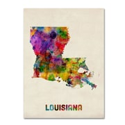 "Trademark Fine Art 'Louisiana Map' 24"" x 32"" Canvas Art"