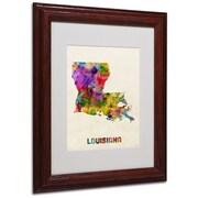 "Trademark Fine Art 'Louisiana Map' 11"" x 14"" Wood Frame Art"