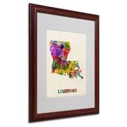 "Trademark Fine Art 'Louisiana Map' 16"" x 20"" Wood Frame Art"