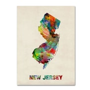 "Trademark Fine Art 'New Jersey Map' 18"" x 24"" Canvas Art"