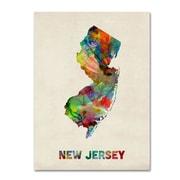 """Trademark Fine Art 'New Jersey Map' 18"""" x 24"""" Canvas Art"""