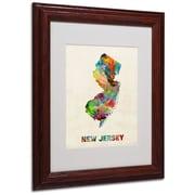 """Trademark Fine Art 'New Jersey Map' 11"""" x 14"""" Wood Frame Art"""