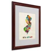 """Trademark Fine Art 'New Jersey Map' 16"""" x 20"""" Wood Frame Art"""