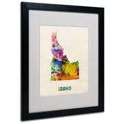 "Trademark Fine Art 'Idaho Map' 16"" x 20"" Black Frame Art"