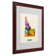 "Trademark Fine Art 'Idaho Map' 16"" x 20"" Wood Frame Art"