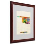 "Trademark Fine Art 'Oklahoma Map' 16"" x 20"" Wood Frame Art"