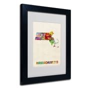 Trademark Fine Art 'Massachusetts Map'